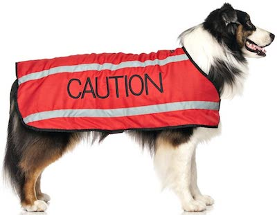caution warning red coat