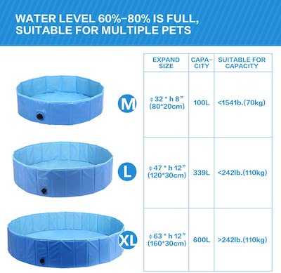 paddling pool for dog size guide