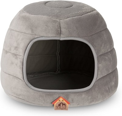 Hollypet Coral Velvet Self-Warming 2-in-1 Foldable Cave